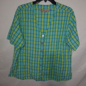 Turquoise Lime Plaid Summer Top 1X Plus